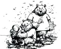 Toolik Bears collecting data; drawn by John Adams, 1991