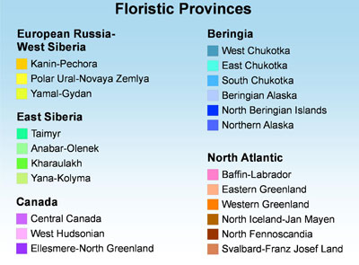 floristic provinces legend