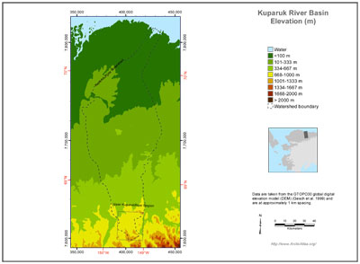 Kuparuk River Basin Elevation